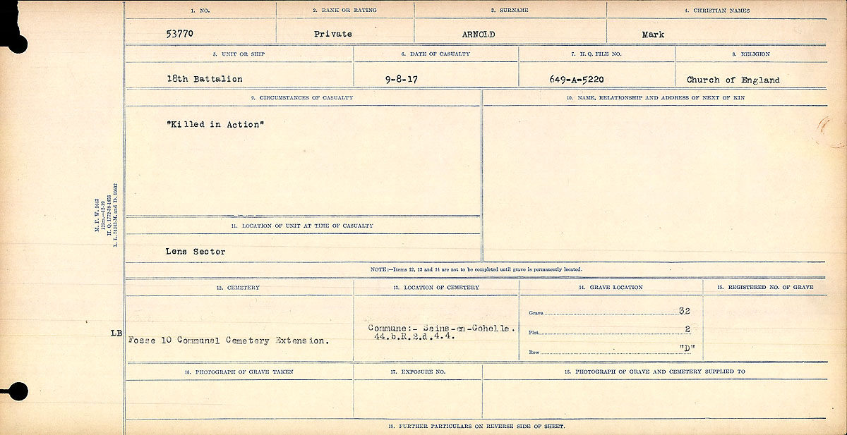 "Circumstances of Death Registers – Circumstances of Death Register: ""Killed in Action"""