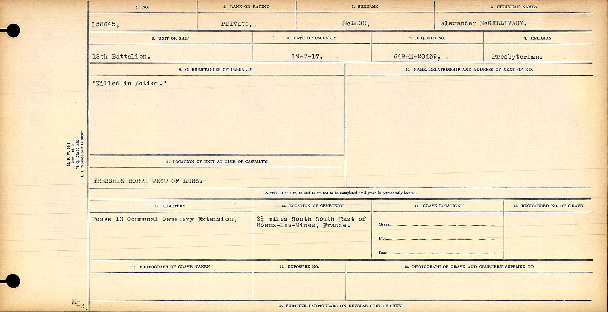 """Circumstances of Death Registers – """"Killed in Action""""  Title:Circumstances of Death Registers, First World War Mikan record:46246 Volume Number:31829_B016762 Page:533 Contributed by E.Edwards www.18thbattalioncef.wordpress.com"""