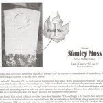 Memorial Page – Stanley Moss is honoured on page 63 of the Gananoque Remembers booklet, published on January 31, 2005.