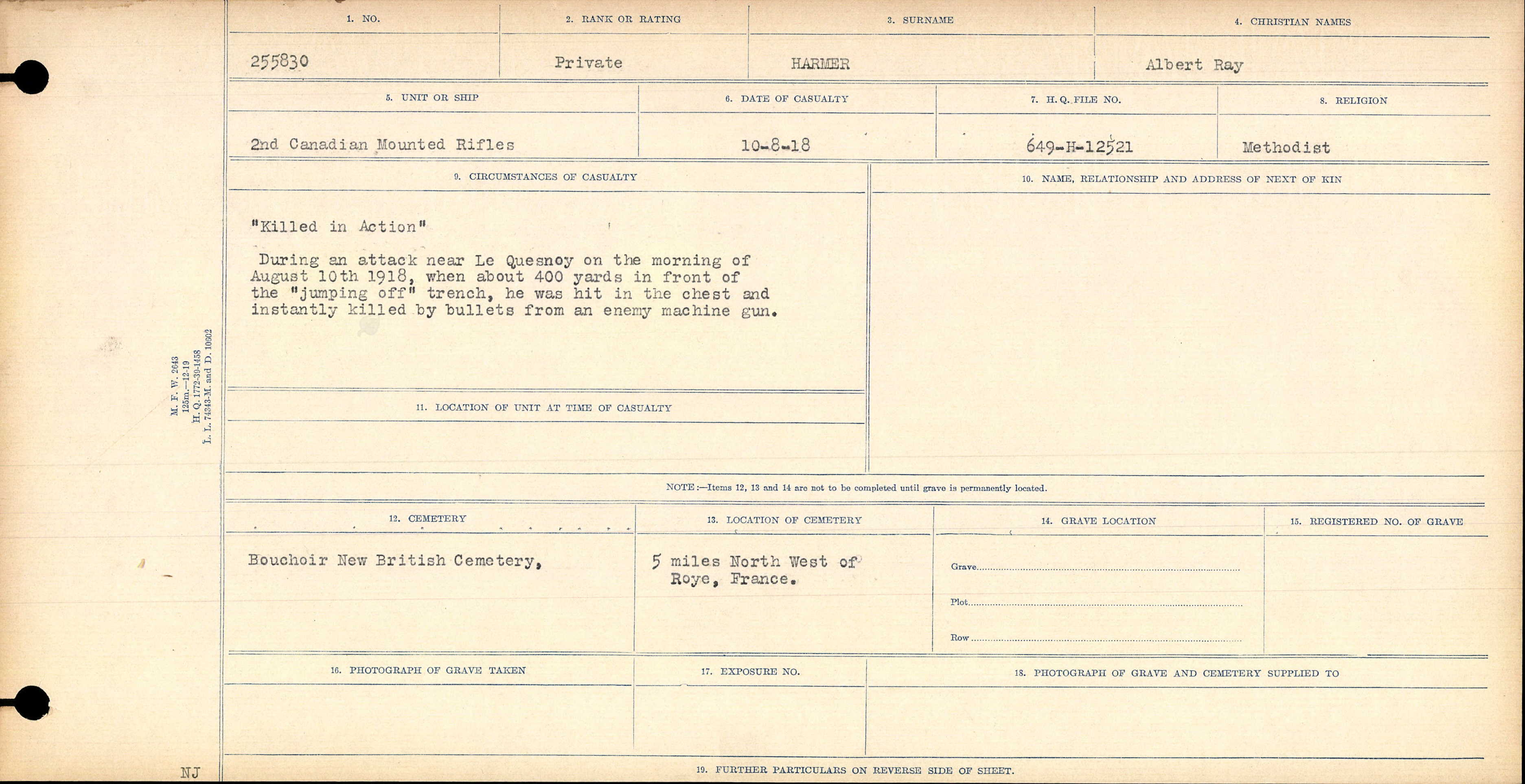 Circumstances of Death Registers – Canada, War Graves Registers (Circumstances of Casualty), 1914-1948 for Albert Ray Harmer Pg 1