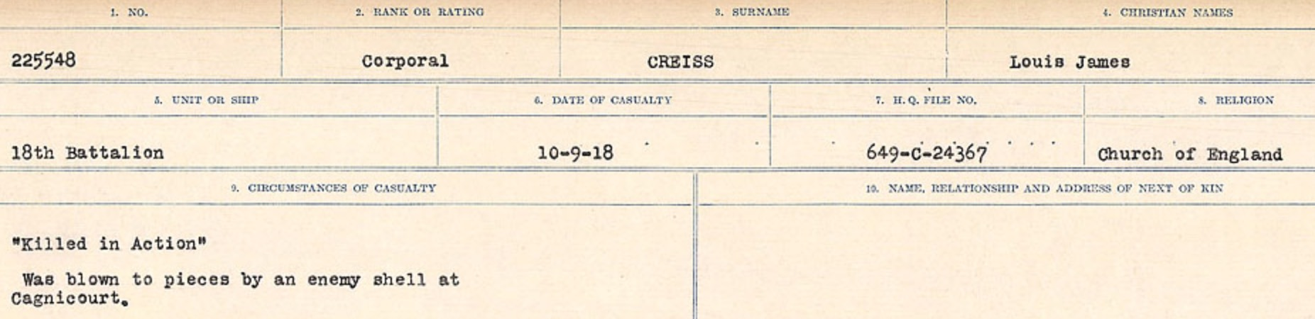 Circumstances of death registers – Source: Library and Archives Canada. CIRCUMSTANCES OF DEATH REGISTERS, FIRST WORLD WAR Surnames: CRABB TO CROSSLAND Microform Sequence 24; Volume Number 31829_B016733. Reference RG150, 1992-93/314, 168. Page 467 of 788.