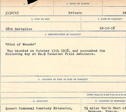 "Circumstances of death registers – ""Died of Wounds"" Was wounded on October 11, 1918, and succumbed the following day at No. 9 Canadian Field Ambulance.