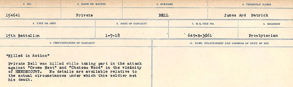 Circumstances of Death – Source: Library and Archives Canada.  CIRCUMSTANCES OF DEATH REGISTERS FIRST WORLD WAR Surnames: Bernard to Binyan. Mircoform Sequence 8; Volume Number 31829_B016718; Reference RG150, 1992-93/314, 152 Page 101 of 670