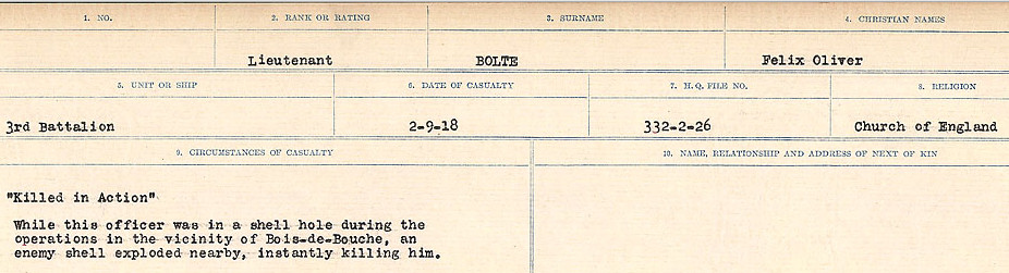 Circumstances of Death Registers – Source:  Library and Archives Canada.  CIRCUMSTANCES OF DEATH REGISTERS FIRST WORLD WAR Surnames: Blampie to Booth; Mircoform Sequence 11; Volume Number 131829_B016720; Reference RG150, 1992-93/314, 155 Page 495 of 762