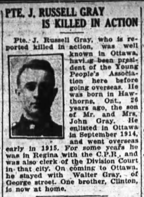 Newspaper Clipping – FROM: The Ottawa Journal, 07 October 1918, Page 2