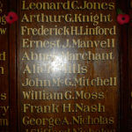 Roll of Honour – Victoria Cross holder Arthur George Knight's entry  at St Wilfrid's school, Haywards Heath, W Sussex, UK on the Roll of Honour commemorating pupils that died in the Great War.