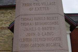 Cenotaph – Sergeant Thomas Harold Carling Bissett is also commemorated on the cenotaph in Exeter, ON … photo courtesy of Marg Liessens