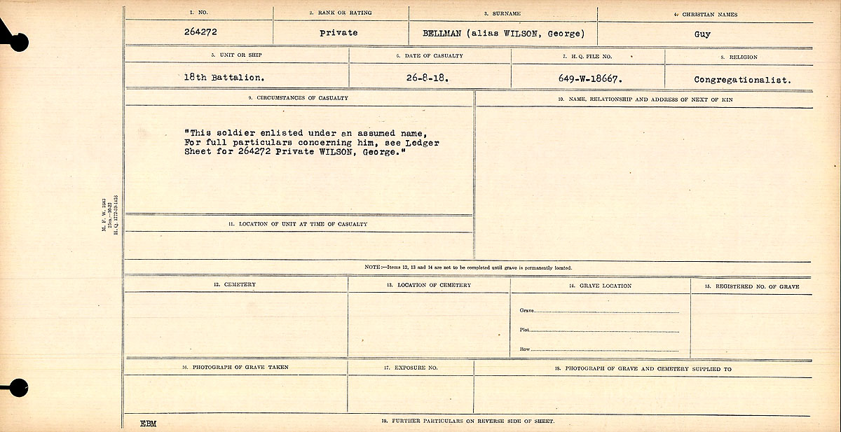 Circumstances of Death Registers – This soldier enlisted under an assumed name. For full particulars concerning him, see Ledger Sheet for 264274 Private Wilson, George.  Title:Circumstances of Death Registers, First World War Mikan record:46246 Volume Number:31829_B016718 Page:293 Number of pages:670 Contributed by E.Edwards www.18thbattalioncef.wordpress.com