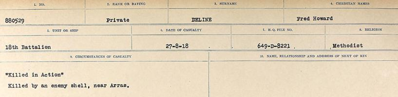 Circumstances of death registers – Source: Library and Archives Canada. CIRCUMSTANCES OF DEATH REGISTERS, FIRST WORLD WAR. Surnames: Davy to Detro. Microform Sequence 27; Volume Number 31829_B016736. Reference RG150, 1992-93/314, 171. Page 537 of 1036.