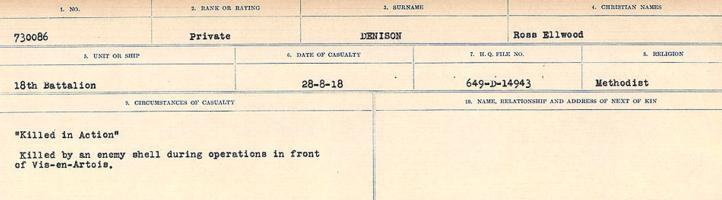 Circumstances of death registers – Source: Library and Archives Canada. CIRCUMSTANCES OF DEATH REGISTERS, FIRST WORLD WAR. Surnames: Davy to Detro. Microform Sequence 27; Volume Number 31829_B016736. Reference RG150, 1992-93/314, 171. Page 705 of 1036.
