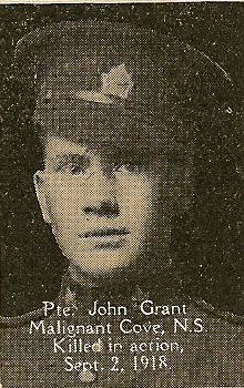 Photo of John Grant – From the book, Catholics of the Diocese of Antigonish, Nova Scotia and the Great War 1914- 1919.  Submitted for the project, Operation: PIcture Me