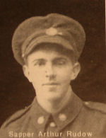 Photo of Arthur Rudow – In memory of the men and women from the Waterloo area who went to war and did not come home. From the booklet, Peace Souvenir – Activities of Waterloo County in the Great War 1914 – 1918. From the Toronto Public Library collection.  Submitted for the project, Operation: Picture Me.
