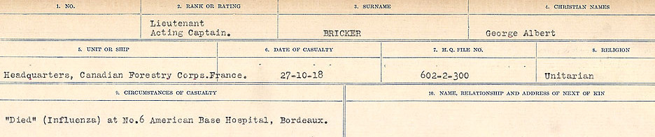 Circumstances of Death Registers, First World War – Source: Library and Archives Canada.  CIRCUMSTANCES OF DEATH REGISTERS FIRST WORLD WAR Surnames: Brabant to Britton. Mircoform Sequence 13; Volume Number 131829_B016722; Reference RG150, 1992-93/314, 157 Page 613 of 906