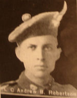 Photo of Andrew Burnette Robertson – In memory of the men and women from the Waterloo area who went to war and did not come home. From the booklet, Peace Souvenir – Activities of Waterloo County in the Great War 1914 – 1918. From the Toronto Public Library collection.  Submitted for the project, Operation: Picture Me.