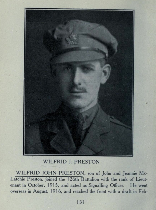 Photo of WILFRED JOHN PRESTON – In memory of the students from Parkdale Collegiate Institute (Toronto, Ontario), who went to war and did not come home. Submitted for the project, Operation: Picture Me