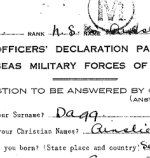 Attestation Papers – Attestation (Officers' Declaration) for Ainslie St.Clair Dagg.