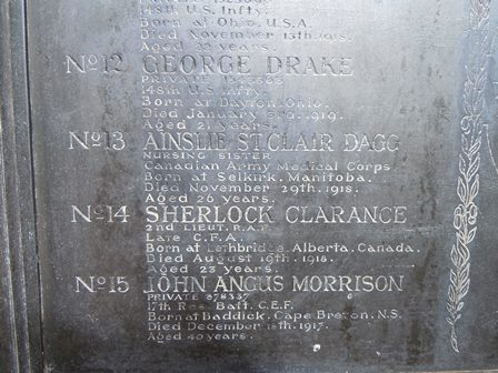 """Inscription – The detail of the """"Key Plan of Cliveden Cemetary"""" at the War Memorial Garden at Cliveden, England where Nursing Sister Ainslie St. Clair Dagg is buried. The photograph was taken in 2014 by Susan Dutton, Archivist at the Bishop Strachan School. Ainslie Dagg attended the school in 1910-1911."""