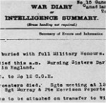 War Diary – War Diary for No. 15 Canadian General Hospital (Duchess of Connaught) Taplow, for December 1918, page 1, recording the burial of Ainslie St.Clair Dagg with full military honours.