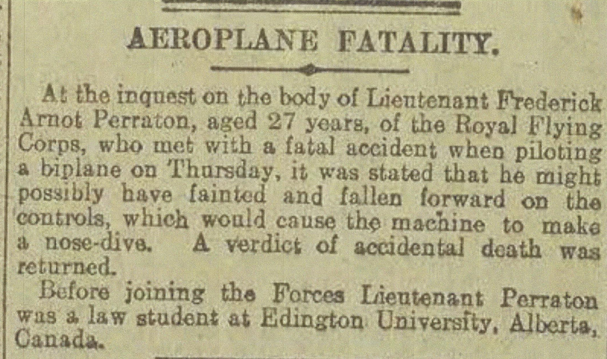 Newspaper Clipping – Newspaper clipping from Daily Telegraph of March 5, 1917. Image taken from web address of http://www.telegraph.co.uk/news/ww1-archive/12214358/Daily-Telegraph-March-5-1917.html