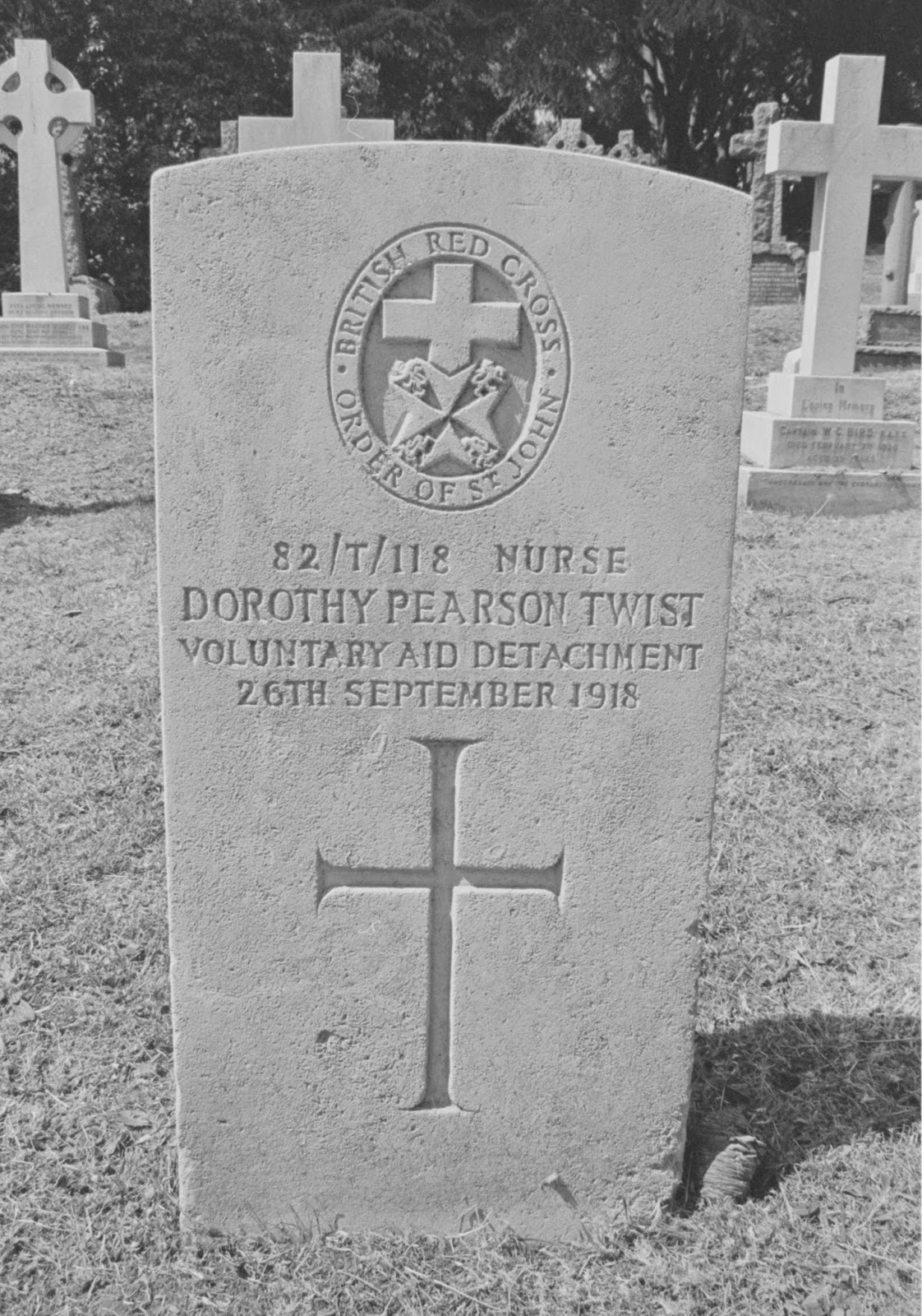 Grave Marker – Grave of Dorothy Pearson Twist VAD photographed in early 1990s. She died of influenza pneumonia and was buried with full military honours at Aldershot Military Cemetery.