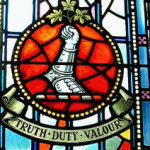 Memorial Stained Glass – On their 50th anniversary the class of August 1915 at the Royal Military College of Canada have placed this memorial stained glass window to honour their fallen classmates.  326 Captain George Edward Francklyn (RMC 1895) He served with the Canadian Army Service Corps, Training Division. He died on Dec 7, 1915. He was buried in M.14, Shorncliffe Military Cemetery, Kent, United Kingdom.