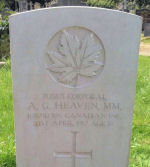 Grave Marker – On September 22, 2012, a memorial service of Remembrance will take place for Cpl. Alfred Gyde Heaven MM., at Shrewsbury General cemetery, Shropshire, England.