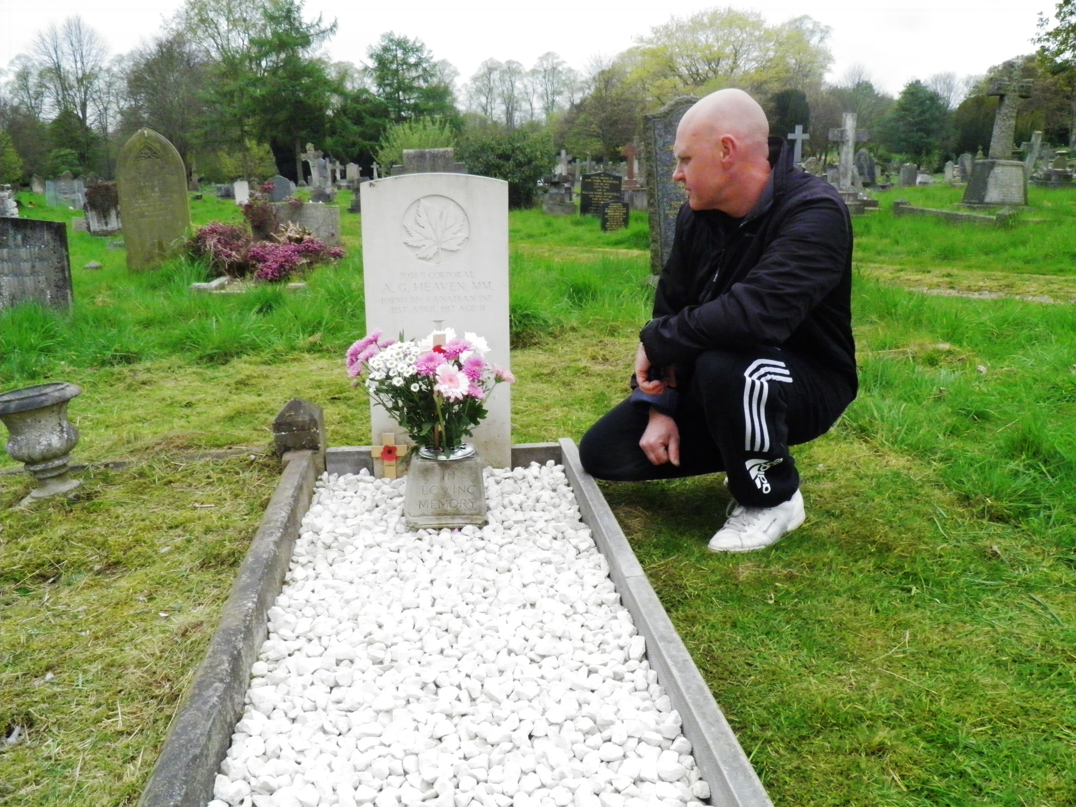 Paying respects – Philip Morris paying respects to a soldier buried a long way from home and the 100 Anniversary of his death the grave as been cleaned and restored fitting of an hero who lost his life so young  GOD BLESS