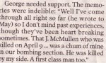 """Newspaper Clipping – Excerpt from a letter written by George Timmins, 18th Battalion, published in the Ottawa Citizen on November 12, 2005, page B5, in a article titled """"Children at war""""."""