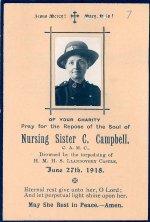 Memorial Card – Memorial card for Nursing Sister C. Campbell.