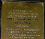 Memorial Plaque – Royal Naval College of Canada plaque: To the glory of God and in fond memory of the following ex-cadet Royal Naval College of Canada Midshipmen killed in action on board H.M.S. Good Hope off Coronel Nov 1st 1914.