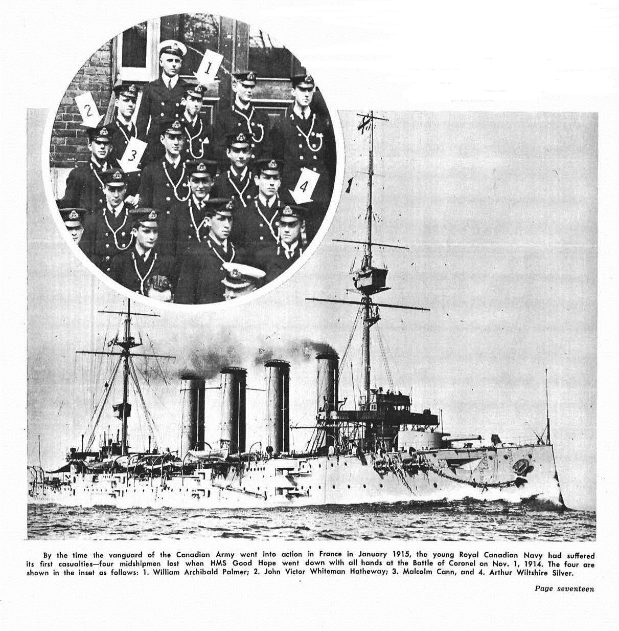 Newspaper Clipping – This display of images appeared at page 17 in the November 1964 issue of The Crowsnest, the Royal Canadian Navy's magazine.  (Submitted by Navy League Cadet Corps CHAMBLY, Barrie, Ontario.)