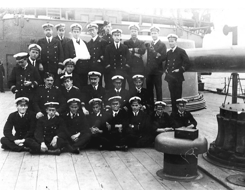 Group Photo – This photograph, taken in the Falkland Islands on 18 October 1914, shows some of the officers and midshipmen aboard HMS GOOD HOPE.  Midshipman M. Cann is in the front row, fourth from the left.  (Submitted by Navy League Cadet Corps CHAMBLY, Barrie, Ontario.)