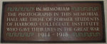 Plaque – In memory of the Harbord Collegiate Institute students who served during World War I and World War II and did not return home. 