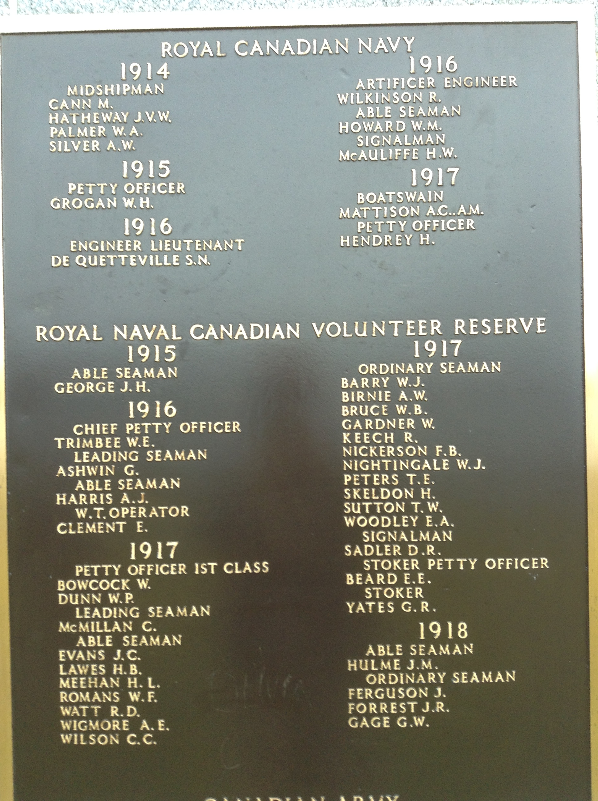 Memorial – The panel on the Halifax Memorial at Point Pleasant in Halifax, Nova Scotia, Canada whereon Gordon William Gage's name is inscribed.