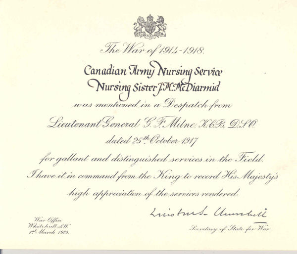 Mentioned in Despatches Certificate