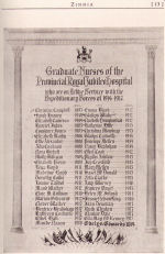 The Royal Jubilee Hospital School of Nursing Memorial Scroll – Scroll showing graduate nurses of the  Royal Jubilee Hospital in Victoria, British Columbia, who enlisted for service with the Canadian Expeditionary Force.