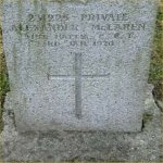Grave Marker – Grave of 231225 Pvt. Alexander Sheriff McLaren who served with the 31st Battn. C.E.F.  Born in Perthsire Scotland on May 20th 1880.  Husband of Emily J. McLaren of Southeed Alberta.