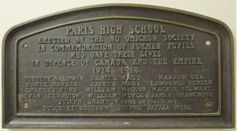 Memorial Plaque – Paris District High School First World War Memorial Plaque Paris Ontario