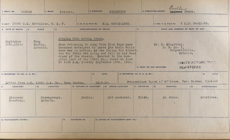 Certificate – Certificate of Death Card, Library and Archives Canada