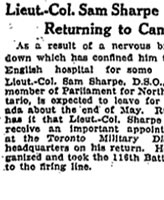 Newspaper Clipping – Source:  The Globe, Toronto, Friday, May 10, 1918