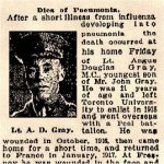 "Newspaper Clipping – Pte. Gray signed his attestation as ""Angus Douglas Gray""."