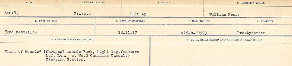 Circumstances of Death Registers – Source: Library and Archives Canada.  CIRCUMSTANCES OF DEATH REGISTERS FIRST WORLD WAR Surnames: Brabant to Britton. Mircoform Sequence 13; Volume Number 131829_B016722; Reference RG150, 1992-93/314, 157 Page 739 of 906