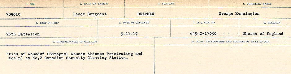 Circumstances of Death Registers – Source: Library and Archives Canada.  CIRCUMSTANCES OF DEATH REGISTERS, FIRST WORLD WAR Surnames:  CATCHPOLE TO CHIGNELL. Microform Sequence 19; Volume Number 31829_B016728. Reference RG150, 1992-93/314, 165. Page 547 of 958.