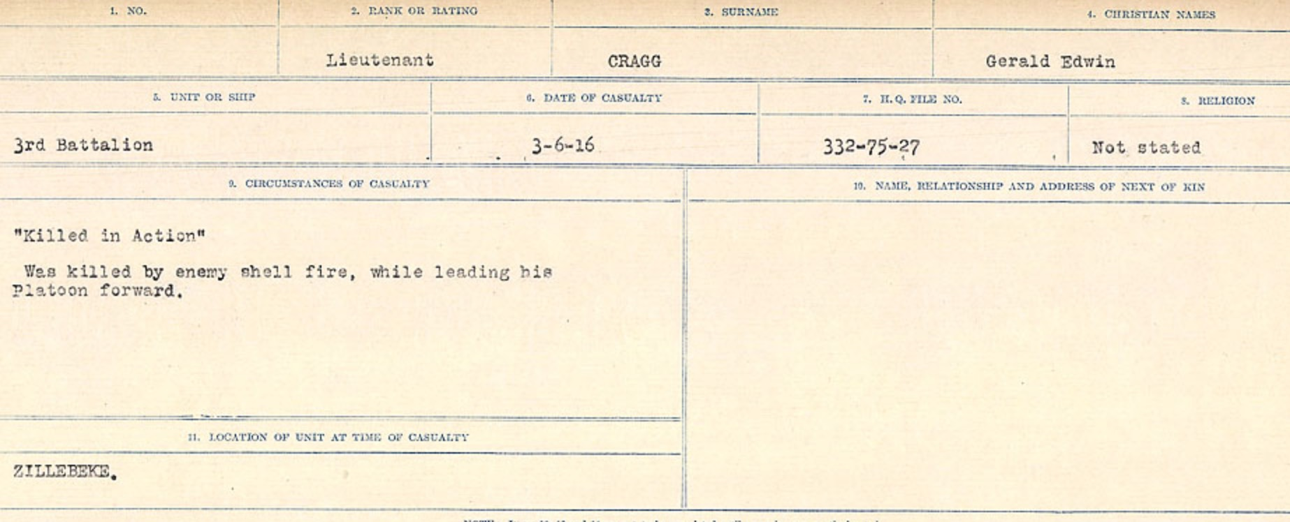 Circumstances of Death Registers – Source: Library and Archives Canada. CIRCUMSTANCES OF DEATH REGISTERS, FIRST WORLD WAR Surnames: CRABB TO CROSSLAND Microform Sequence 24; Volume Number 31829_B016733. Reference RG150, 1992-93/314, 168. Page 33  of 788.