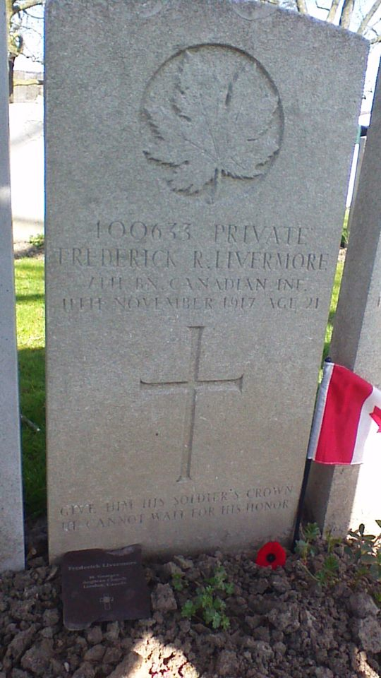 Grave Marker – Frederick Livermore grave April 2015.  From parishioner of his church.