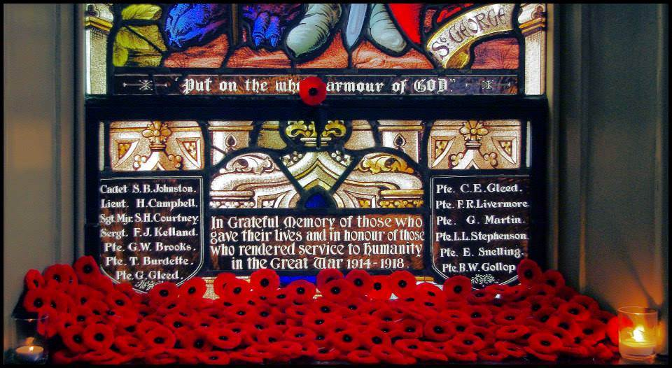 Memorial – WWI window from St. George's Anglican Church in London, Ontario where Frederick and his family attended and he is remembered