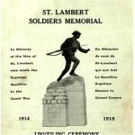 Program – Original program distributed at the unveiling of the St. Lambert, Quebec WWI War Memorial on July 9th, 1922.
