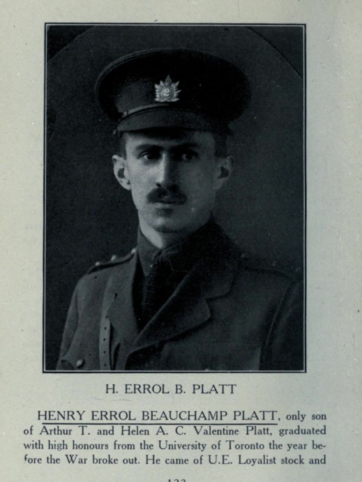 Photo of HENRY ERROL BEAUCHAMP PLATT – In memory of the students from Parkdale Collegiate Institute (Toronto, Ontario), who went to war and did not come home. Submitted for the project, Operation: Picture Me