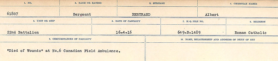 Circumstances of Death Registers – Source: Library and Archives Canada.  CIRCUMSTANCES OF DEATH REGISTERS FIRST WORLD WAR Surnames: Bernard to Binyon. Mircoform Sequence 9; Volume Number 31829_B016719; Reference RG150, 1992-93/314, 153 Page 173 of 652