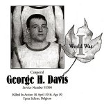Memorial Page – George H. Davis is honoured on page 32 of the Gananoque Remembers booklet, published on January 31, 2005.